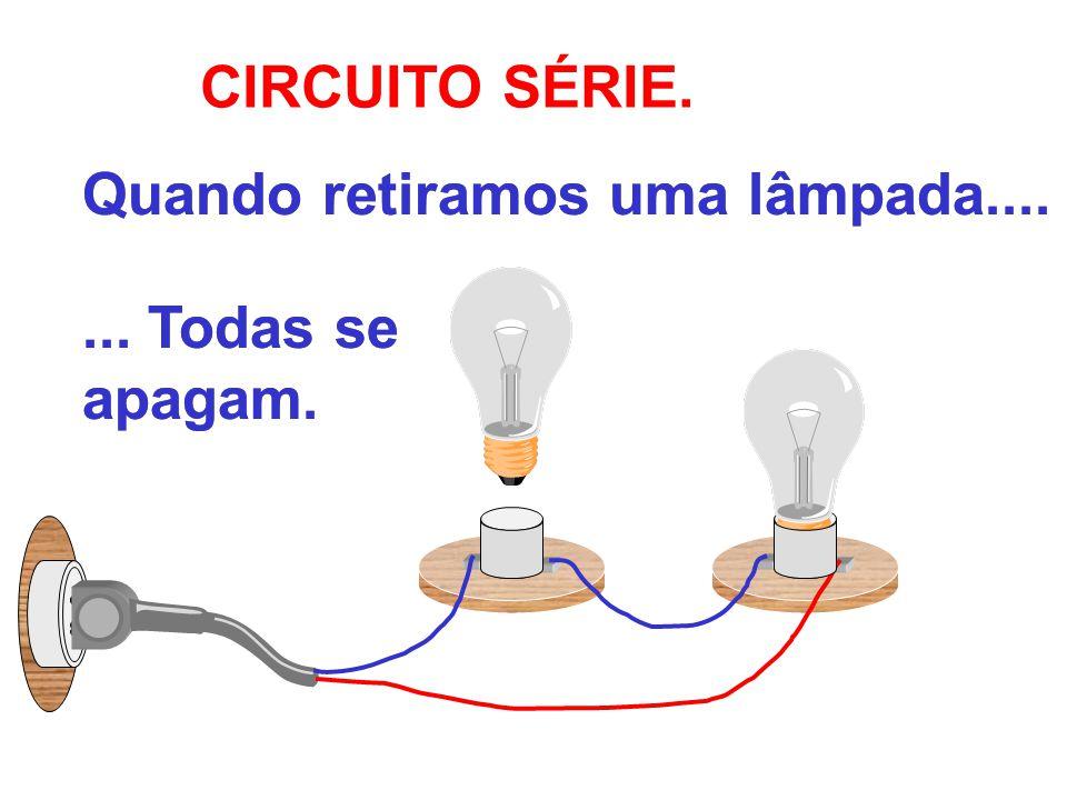 CIRCUITO SÉRIE. Quando retiramos uma lâmpada....... Todas se apagam.... Todas se apagam.