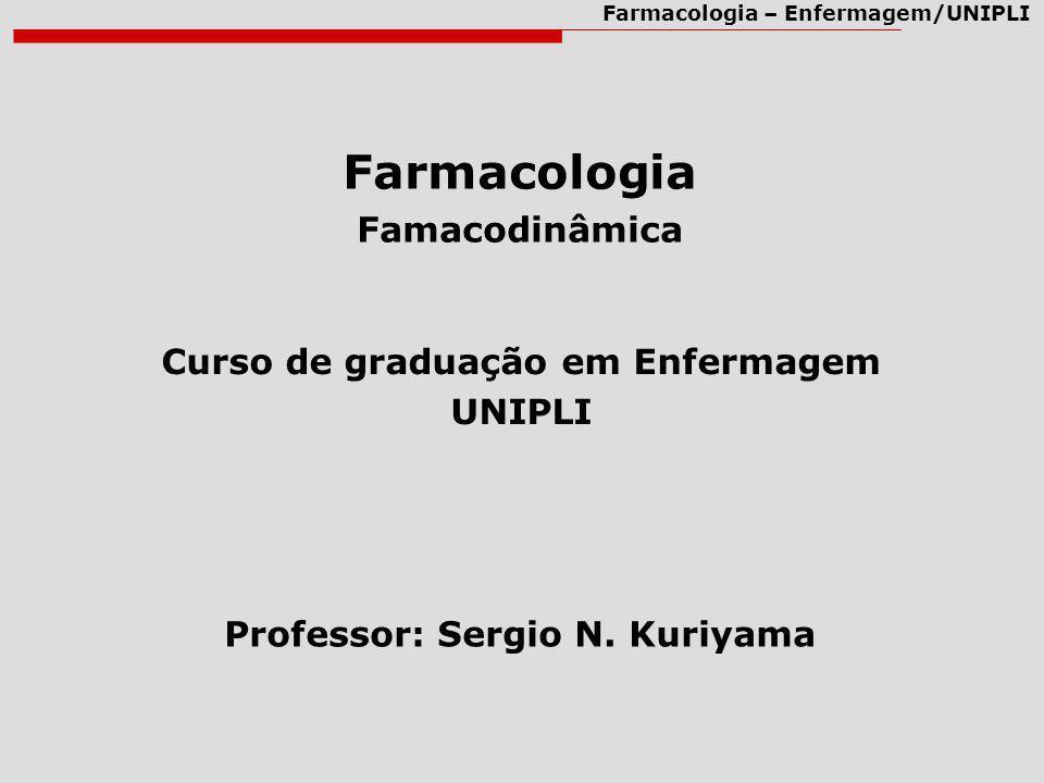 Farmacologia – Enfermagem/UNIPLI Farmacologia Famacodinâmica Curso de graduação em Enfermagem UNIPLI Professor: Sergio N. Kuriyama