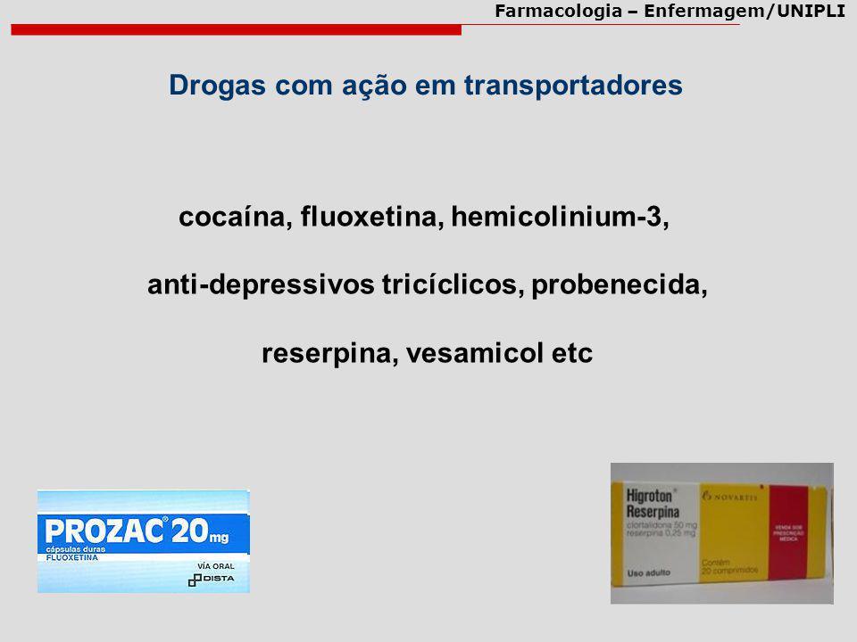 Farmacologia – Enfermagem/UNIPLI Drogas com ação em transportadores cocaína, fluoxetina, hemicolinium-3, anti-depressivos tricíclicos, probenecida, re