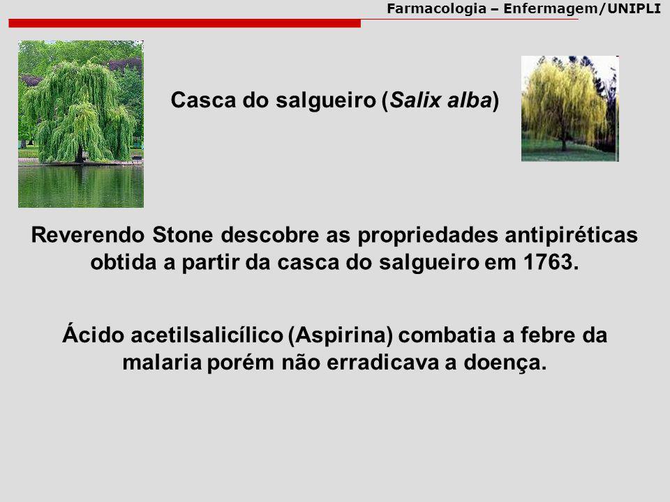 Farmacologia – Enfermagem/UNIPLI Casca do salgueiro (Salix alba) Reverendo Stone descobre as propriedades antipiréticas obtida a partir da casca do sa