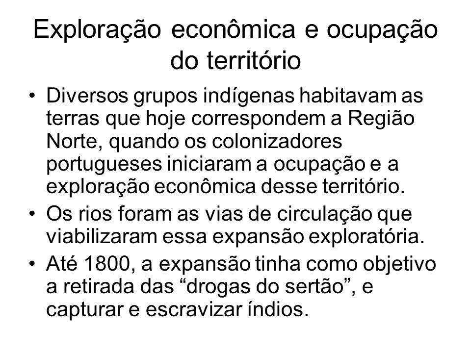Exploração econômica e ocupação do território Diversos grupos indígenas habitavam as terras que hoje correspondem a Região Norte, quando os colonizadores portugueses iniciaram a ocupação e a exploração econômica desse território.