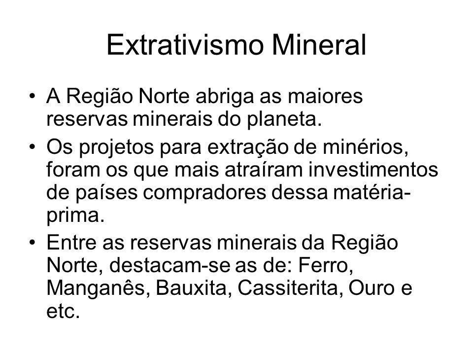 Extrativismo Mineral A Região Norte abriga as maiores reservas minerais do planeta. Os projetos para extração de minérios, foram os que mais atraíram