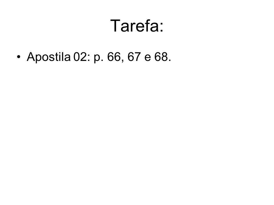 Tarefa: Apostila 02: p. 66, 67 e 68.
