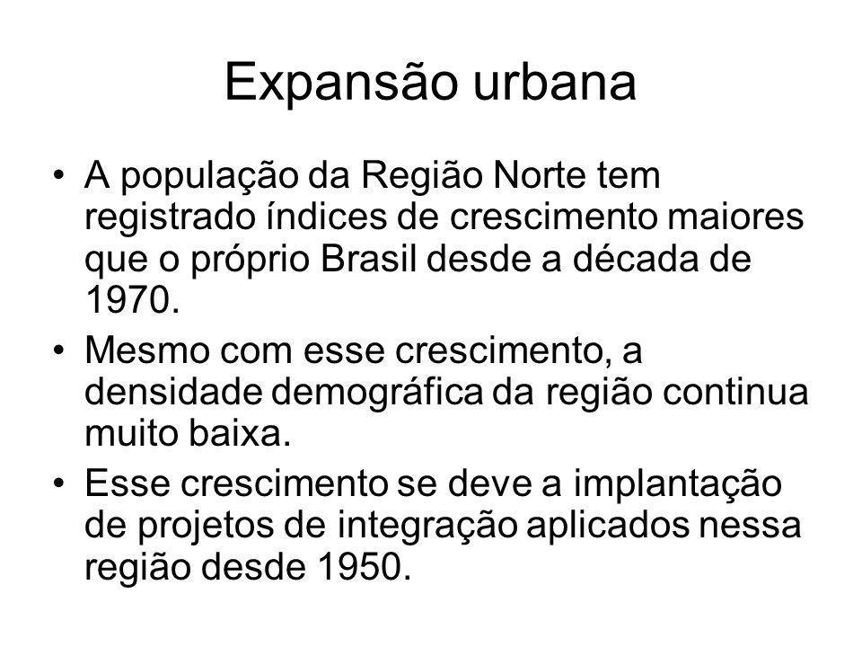 Expansão urbana A população da Região Norte tem registrado índices de crescimento maiores que o próprio Brasil desde a década de 1970. Mesmo com esse