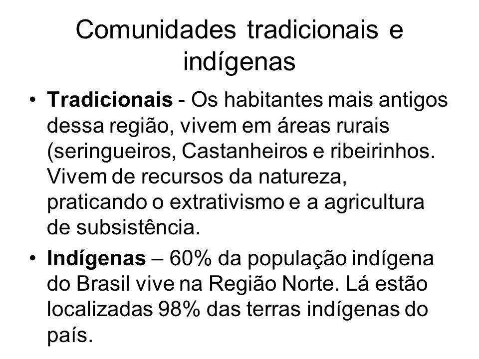 Comunidades tradicionais e indígenas Tradicionais - Os habitantes mais antigos dessa região, vivem em áreas rurais (seringueiros, Castanheiros e ribei