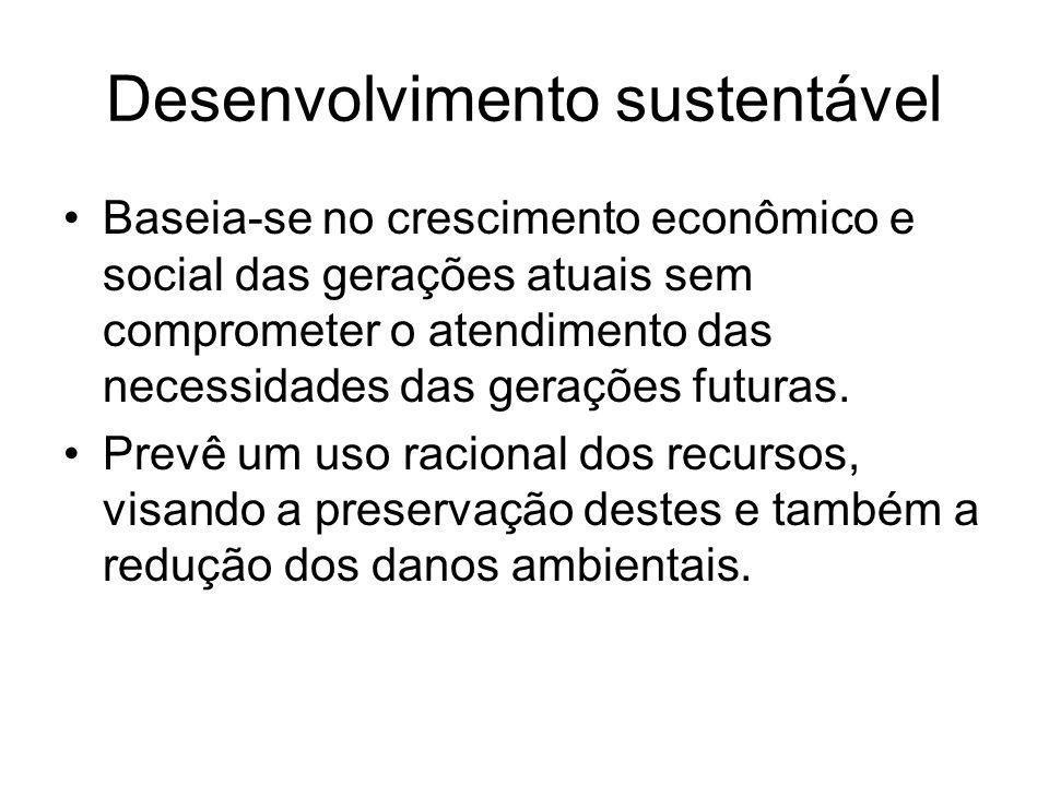 Desenvolvimento sustentável Baseia-se no crescimento econômico e social das gerações atuais sem comprometer o atendimento das necessidades das gerações futuras.