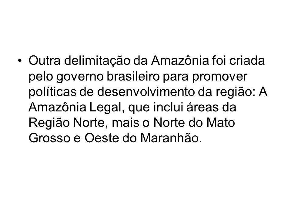 Outra delimitação da Amazônia foi criada pelo governo brasileiro para promover políticas de desenvolvimento da região: A Amazônia Legal, que inclui ár