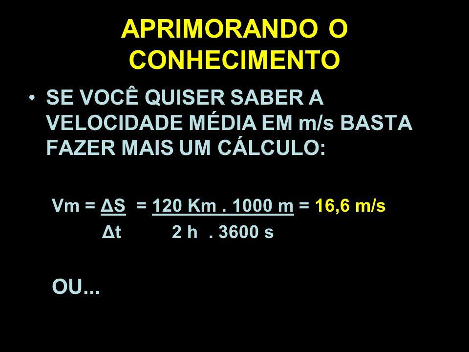 APRIMORANDO O CONHECIMENTO SE VOCÊ QUISER SABER A VELOCIDADE MÉDIA EM m/s BASTA FAZER MAIS UM CÁLCULO: Vm = ΔS = 120 Km. 1000 m = 16,6 m/s Δt 2 h. 360