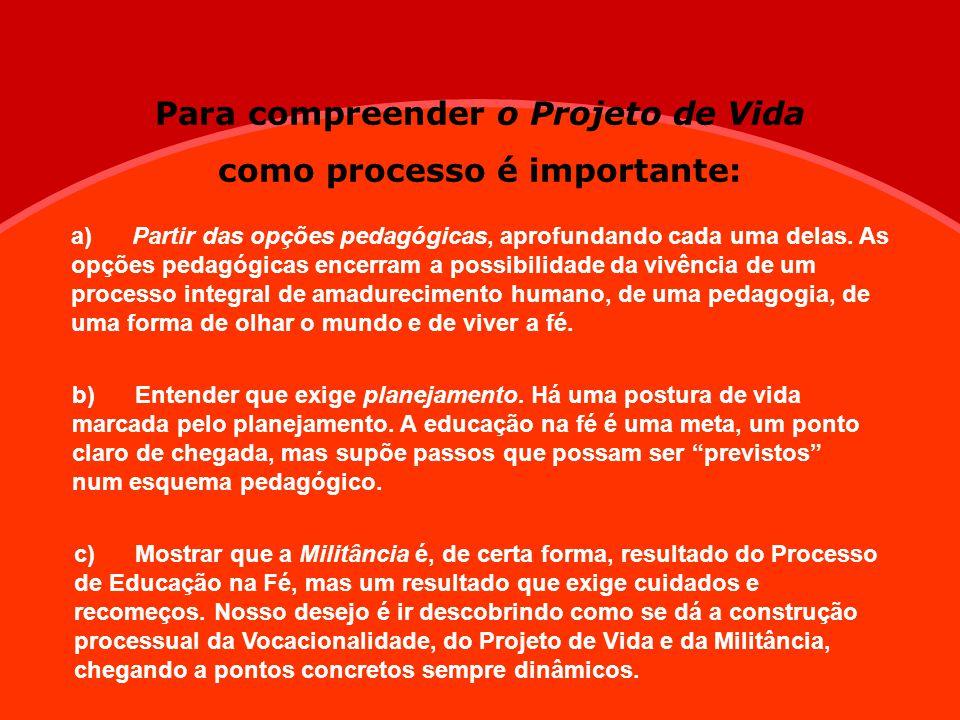 Para compreender o Projeto de Vida como processo é importante: a) Partir das opções pedagógicas, aprofundando cada uma delas. As opções pedagógicas en