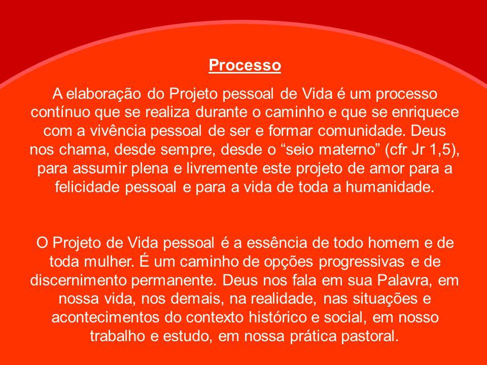 Processo A elaboração do Projeto pessoal de Vida é um processo contínuo que se realiza durante o caminho e que se enriquece com a vivência pessoal de