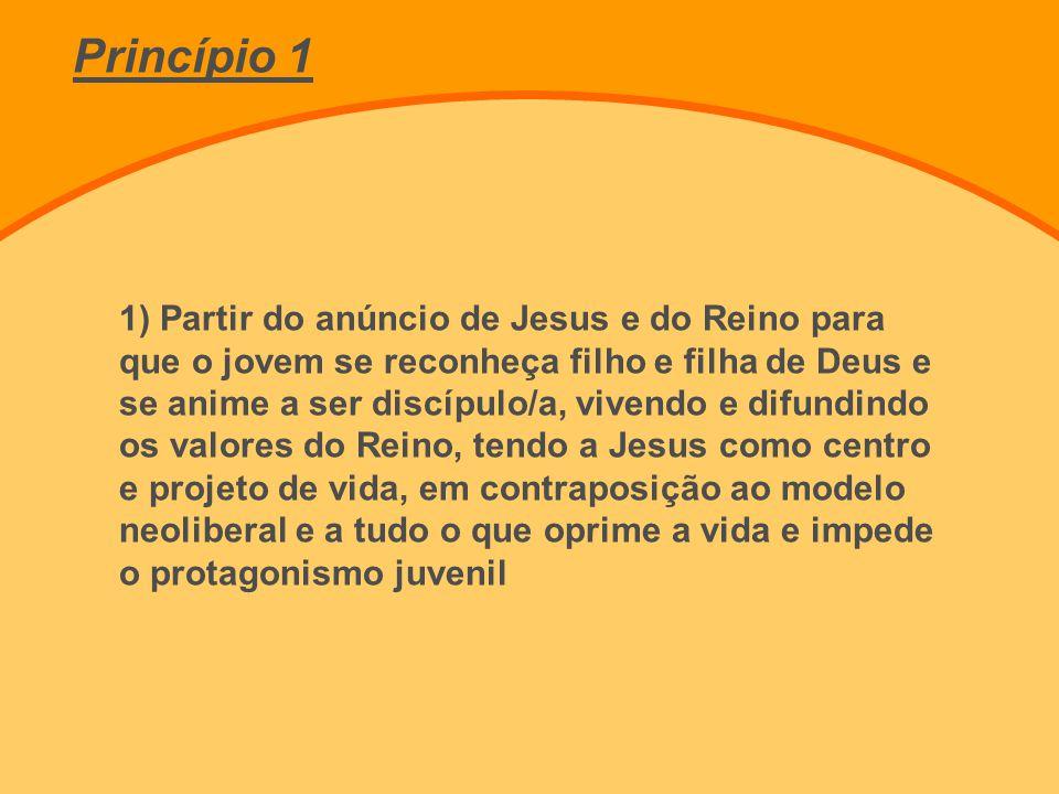 1) Partir do anúncio de Jesus e do Reino para que o jovem se reconheça filho e filha de Deus e se anime a ser discípulo/a, vivendo e difundindo os val