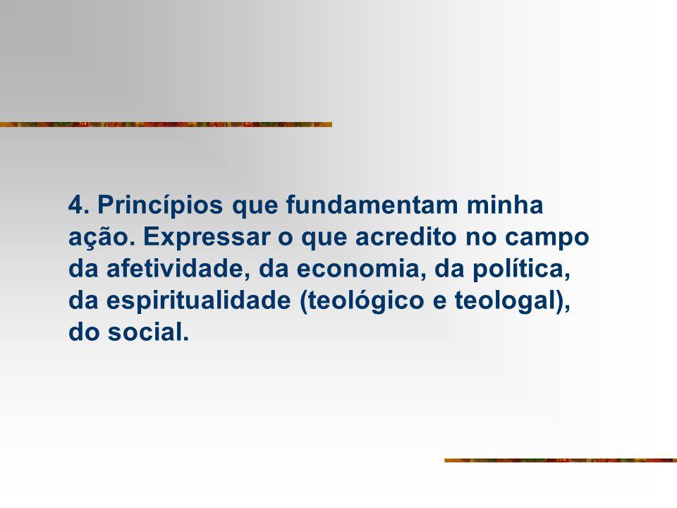 4. Princípios que fundamentam minha ação. Expressar o que acredito no campo da afetividade, da economia, da política, da espiritualidade (teológico e