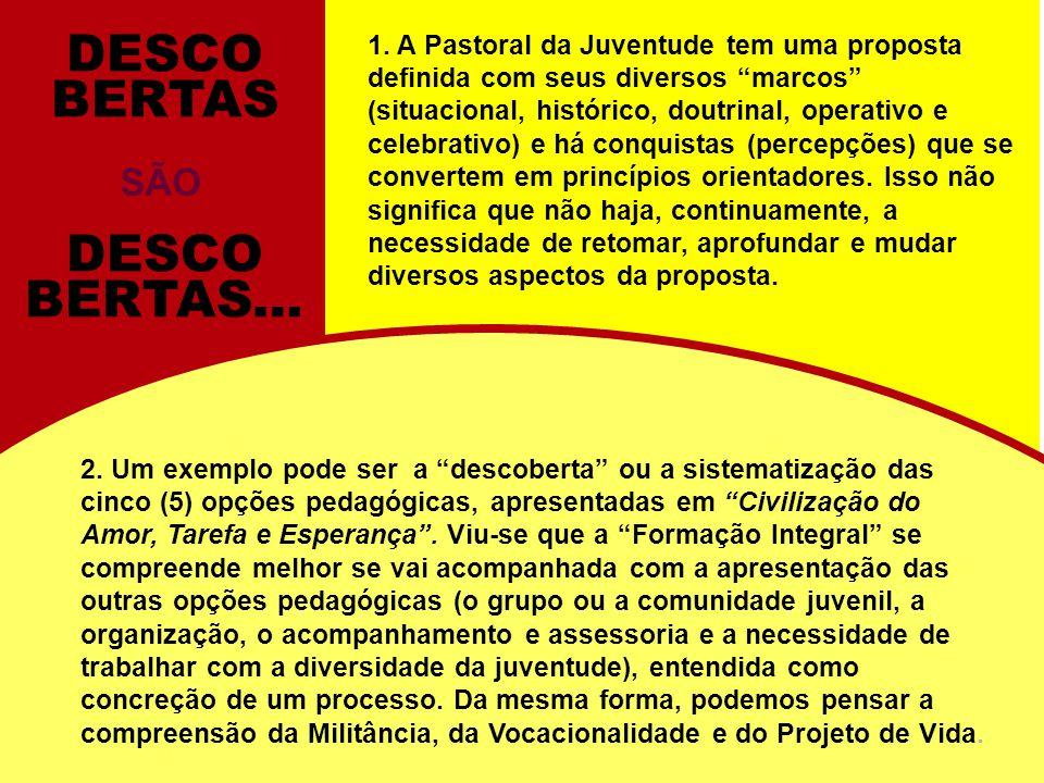 1. A Pastoral da Juventude tem uma proposta definida com seus diversos marcos (situacional, histórico, doutrinal, operativo e celebrativo) e há conqui