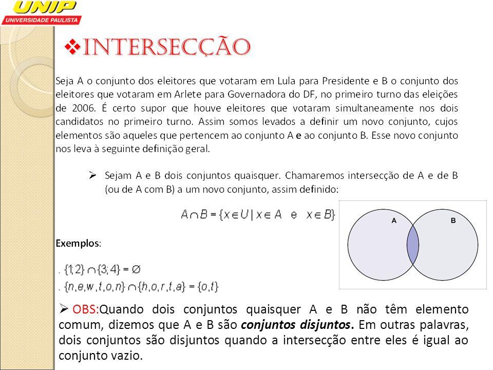 Intersecção Intersecção OBS:Quando dois conjuntos quaisquer A e B não têm elemento comum, dizemos que A e B são conjuntos disjuntos. Em outras palavra