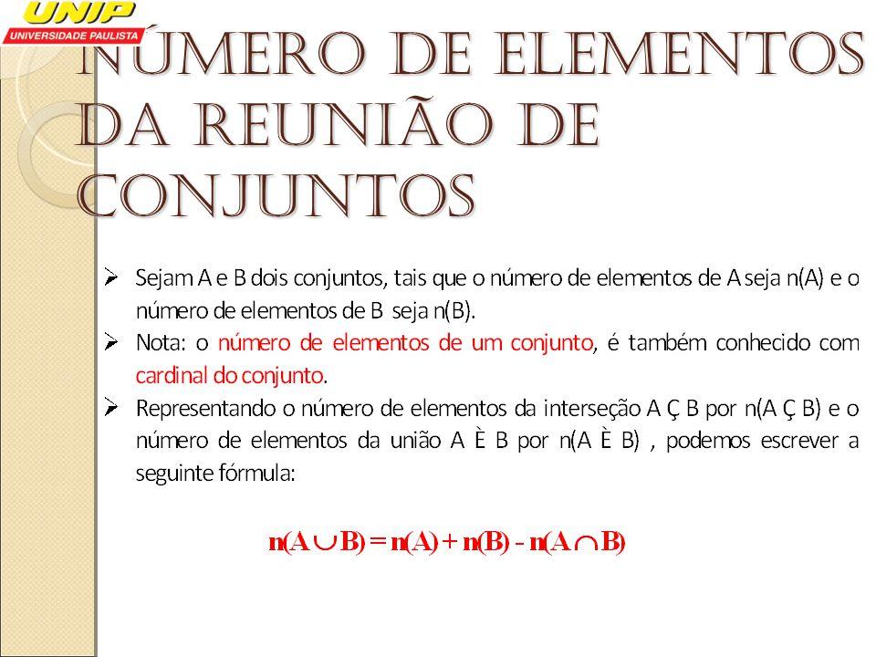 Número de elementos da reunião de conjuntos