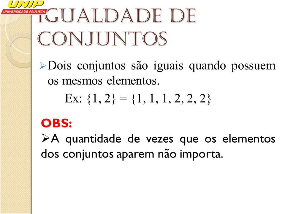 Igualdade de conjuntos Dois conjuntos são iguais quando possuem os mesmos elementos. Ex: {1, 2} = {1, 1, 1, 2, 2, 2} OBS: A quantidade de vezes que os