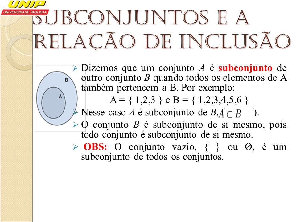 Subconjuntos e a relação de inclusão Dizemos que um conjunto A é subconjunto de outro conjunto B quando todos os elementos de A também pertencem a B.
