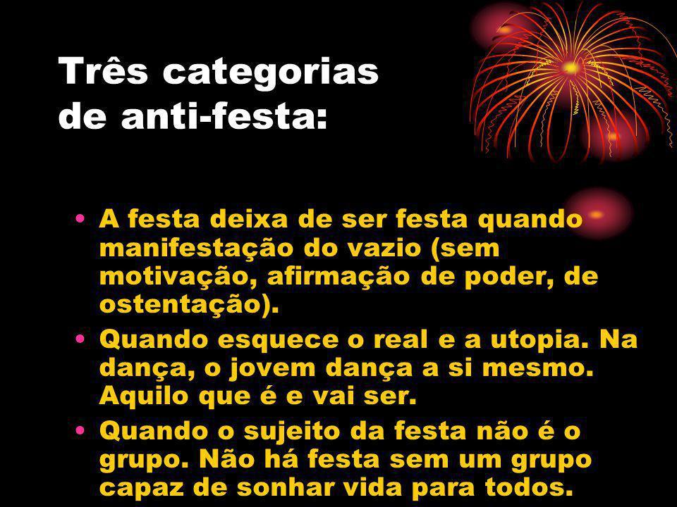 Três categorias de anti-festa: A festa deixa de ser festa quando manifestação do vazio (sem motivação, afirmação de poder, de ostentação). Quando esqu
