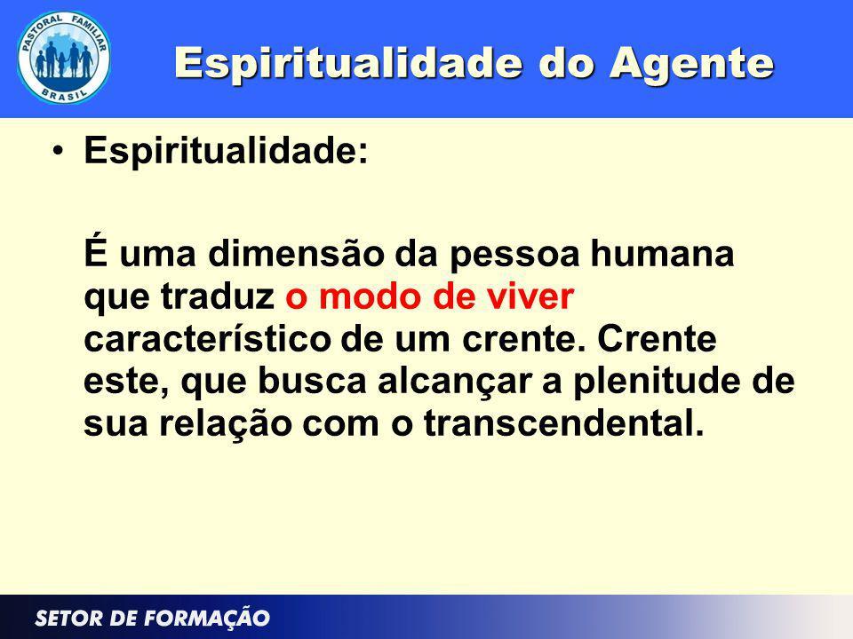 Espiritualidade do Agente Espiritualidade: É uma dimensão da pessoa humana que traduz o modo de viver característico de um crente. Crente este, que bu