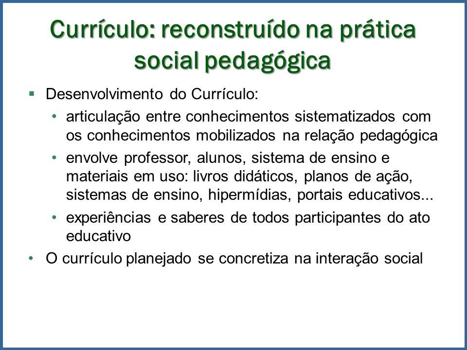 Currículo: reconstruído na prática social pedagógica Desenvolvimento do Currículo: articulação entre conhecimentos sistematizados com os conhecimentos