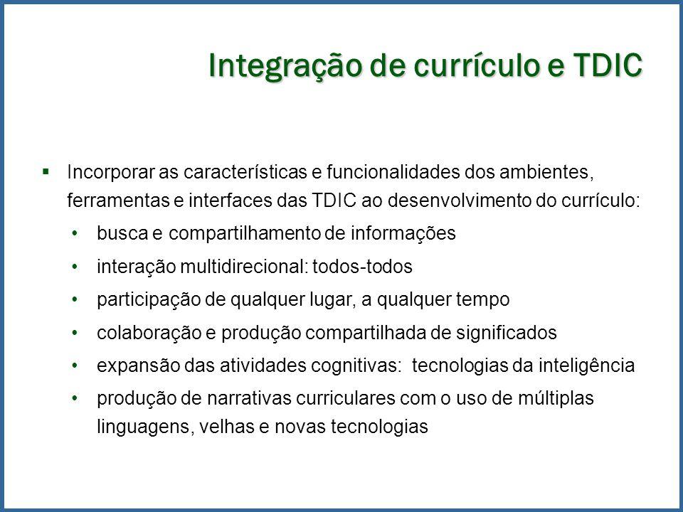 Integração de currículo e TDIC Incorporar as características e funcionalidades dos ambientes, ferramentas e interfaces das TDIC ao desenvolvimento do