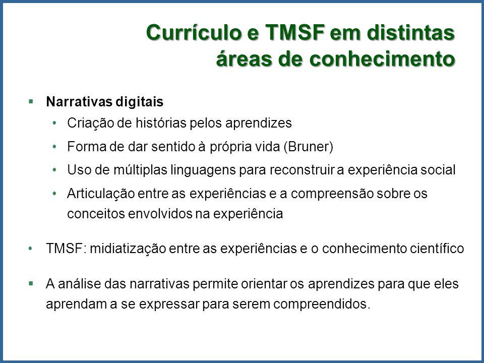 Currículo e TMSF em distintas áreas de conhecimento Narrativas digitais Criação de histórias pelos aprendizes Forma de dar sentido à própria vida (Bru