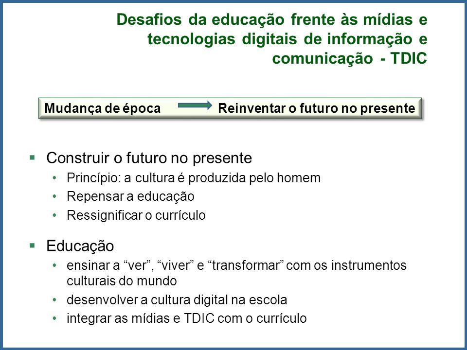 Construir o futuro no presente Princípio: a cultura é produzida pelo homem Repensar a educação Ressignificar o currículo Educação ensinar a ver, viver