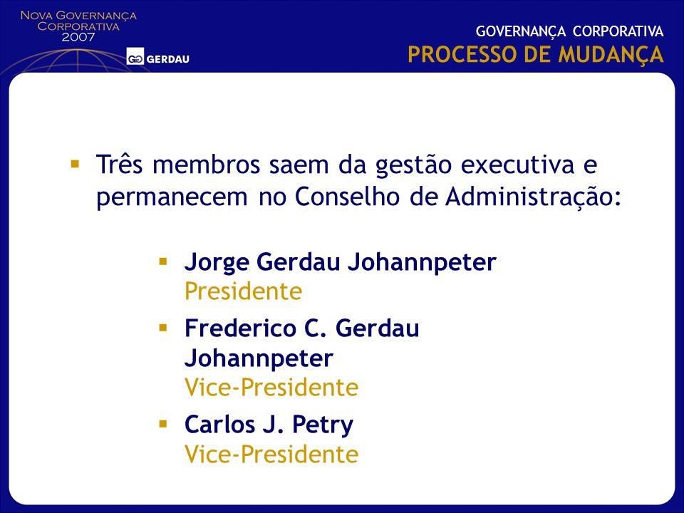 Jorge Gerdau Johannpeter Presidente Frederico C. Gerdau Johannpeter Vice-Presidente Carlos J. Petry Vice-Presidente GOVERNANÇA CORPORATIVA PROCESSO DE