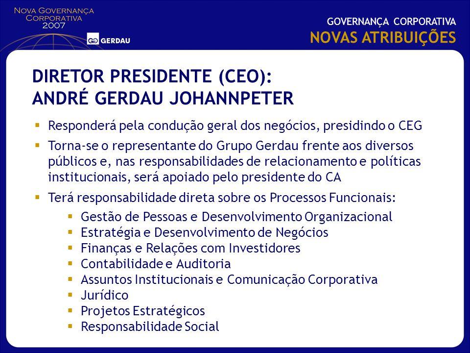 Responderá pela condução geral dos negócios, presidindo o CEG Torna-se o representante do Grupo Gerdau frente aos diversos públicos e, nas responsabil