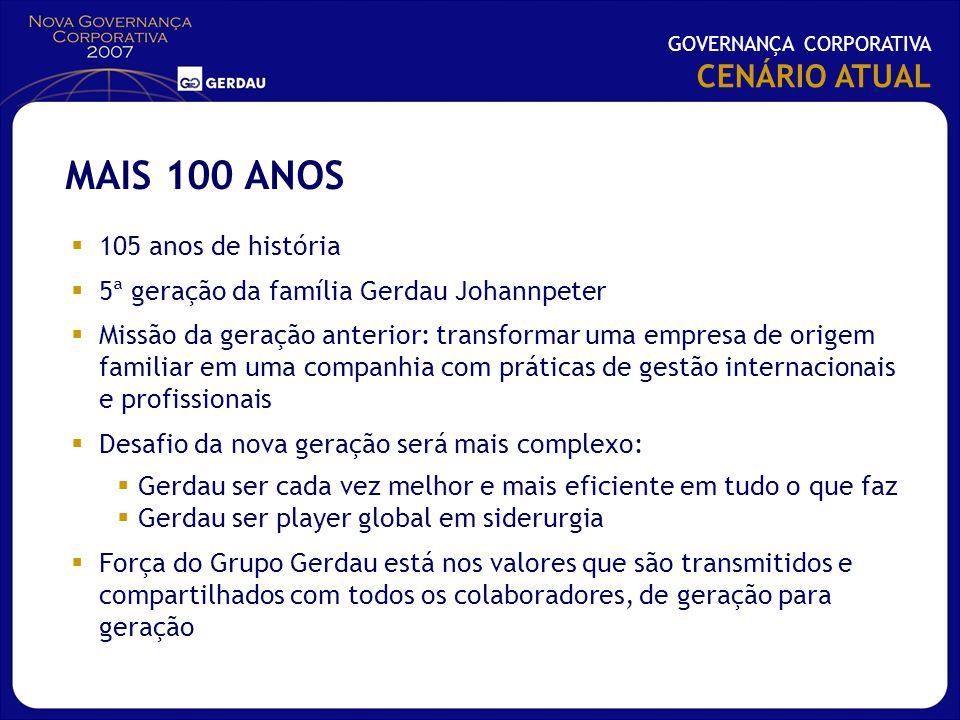 105 anos de história 5ª geração da família Gerdau Johannpeter Missão da geração anterior: transformar uma empresa de origem familiar em uma companhia