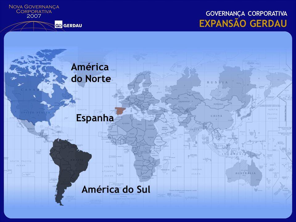 GOVERNANÇA CORPORATIVA EXPANSÃO GERDAU Espanha América do Norte América do Sul