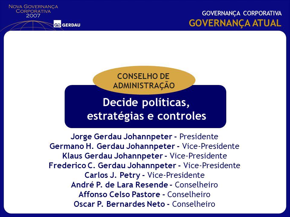 Decide políticas, estratégias e controles Jorge Gerdau Johannpeter - Presidente Germano H. Gerdau Johannpeter - Vice-Presidente Klaus Gerdau Johannpet