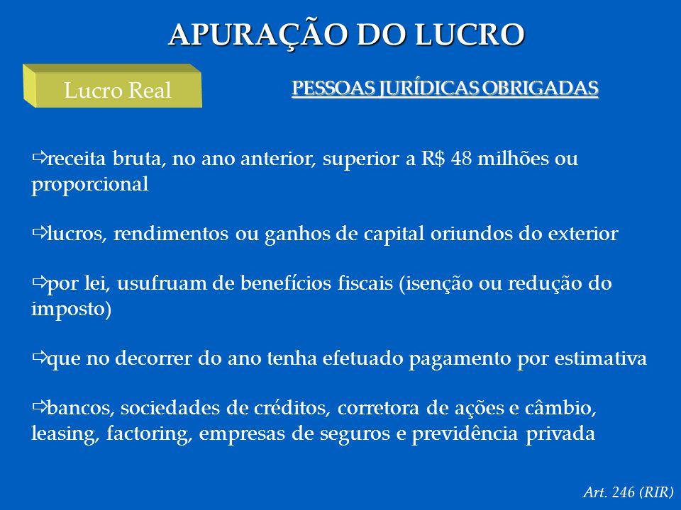 APURAÇÃO DO LUCRO Art.