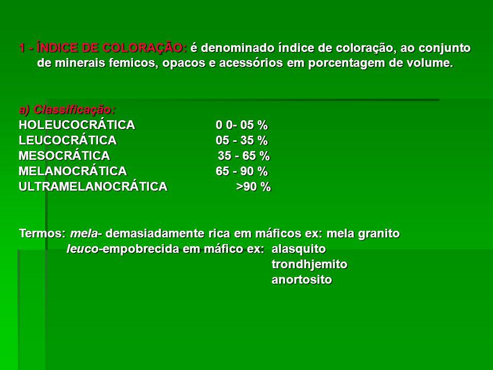 1 - ÍNDICE DE COLORAÇÃO: é denominado índice de coloração, ao conjunto de minerais femicos, opacos e acessórios em porcentagem de volume. a) Classific