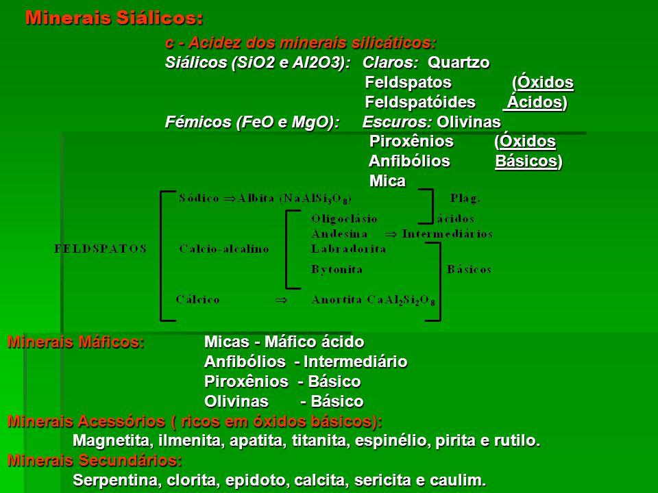 Minerais Siálicos: c - Acidez dos minerais silicáticos: Siálicos (SiO2 e Al2O3): Claros: Quartzo Feldspatos (Óxidos Feldspatos (Óxidos Feldspatóides Á