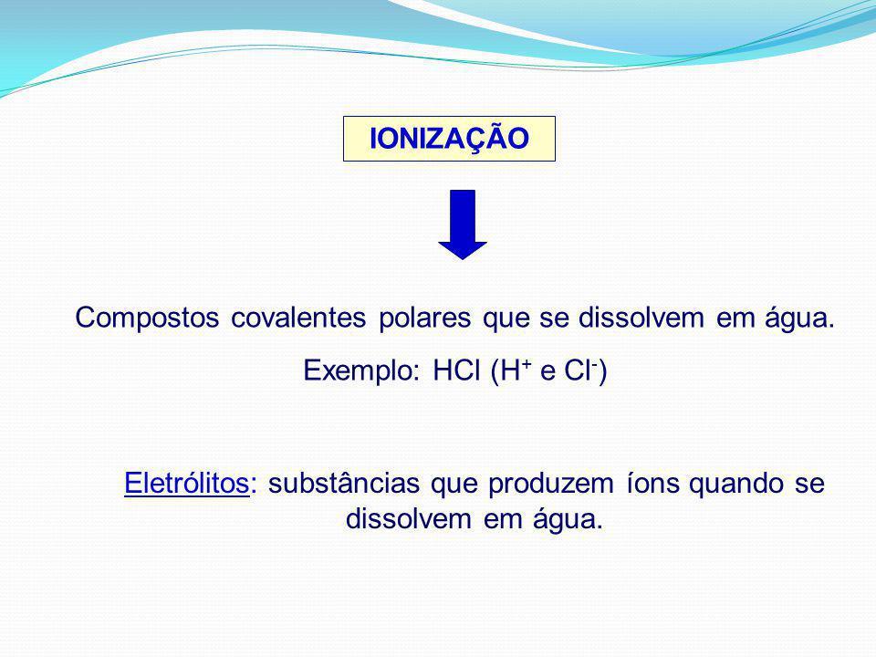 IONIZAÇÃO Compostos covalentes polares que se dissolvem em água. Exemplo: HCl (H + e Cl - ) Eletrólitos: substâncias que produzem íons quando se disso