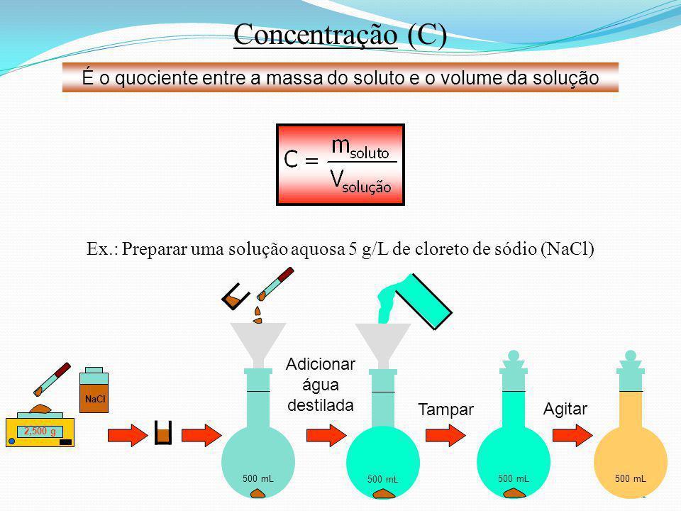 21 500 mL Adicionar água destilada Concentração (C) É o quociente entre a massa do soluto e o volume da solução Ex.: Preparar uma solução aquosa 5 g/L de cloreto de sódio (NaCl) Tampar 500 mL 2,500 g NaCl 500 mL Agitar