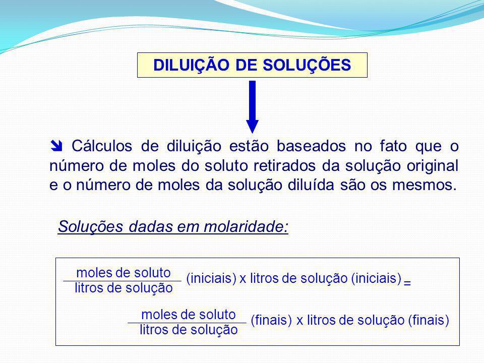 DILUIÇÃO DE SOLUÇÕES Cálculos de diluição estão baseados no fato que o número de moles do soluto retirados da solução original e o número de moles da