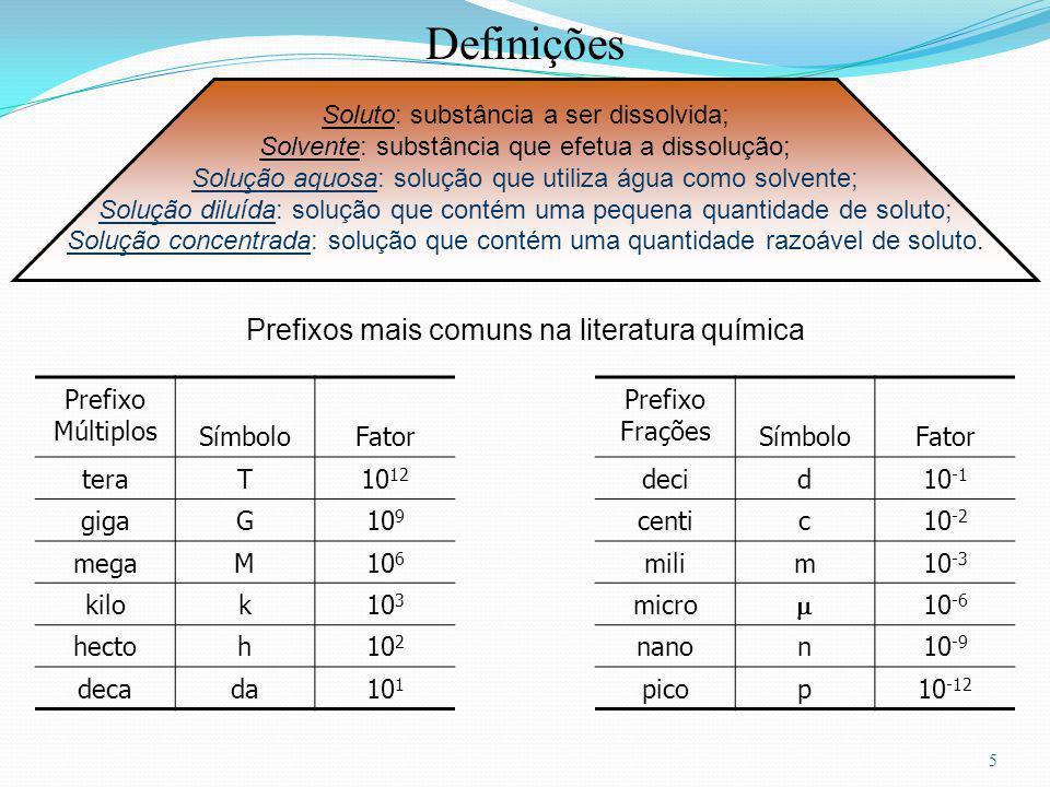 5 Prefixo Múltiplos SímboloFator Prefixo Frações SímboloFator teraT10 12 decid10 -1 gigaG10 9 centic10 -2 megaM10 6 milim10 -3 kilok10 3 micro 10 -6 hectoh10 2 nanon10 -9 decada10 1 picop10 -12 Definições Soluto: substância a ser dissolvida; Solvente: substância que efetua a dissolução; Solução aquosa: solução que utiliza água como solvente; Solução diluída: solução que contém uma pequena quantidade de soluto; Solução concentrada: solução que contém uma quantidade razoável de soluto.
