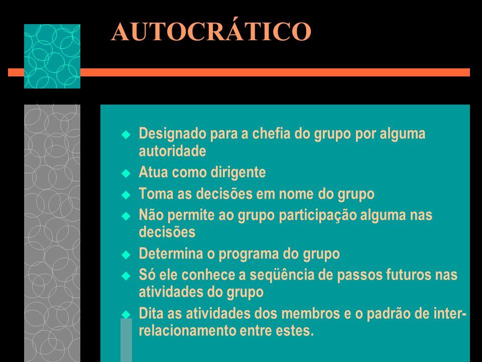 AUTOCRÁTICO Designado para a chefia do grupo por alguma autoridade Atua como dirigente Toma as decisões em nome do grupo Não permite ao grupo particip