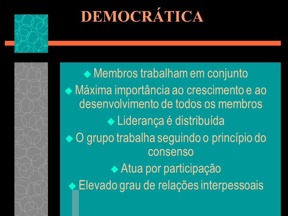 DEMOCRÁTICA Membros trabalham em conjunto Máxima importância ao crescimento e ao desenvolvimento de todos os membros Liderança é distribuída O grupo t
