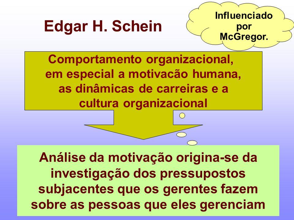 Influenciado por McGregor. Edgar H. Schein Comportamento organizacional, em especial a motivacão humana, as dinâmicas de carreiras e a cultura organiz