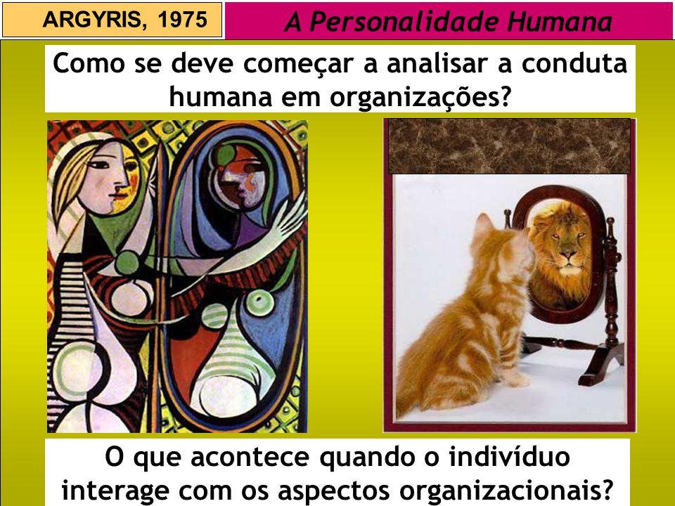 ARGYRIS, 1975 A Personalidade Humana Como se deve começar a analisar a conduta humana em organizações? O que acontece quando o indivíduo interage com