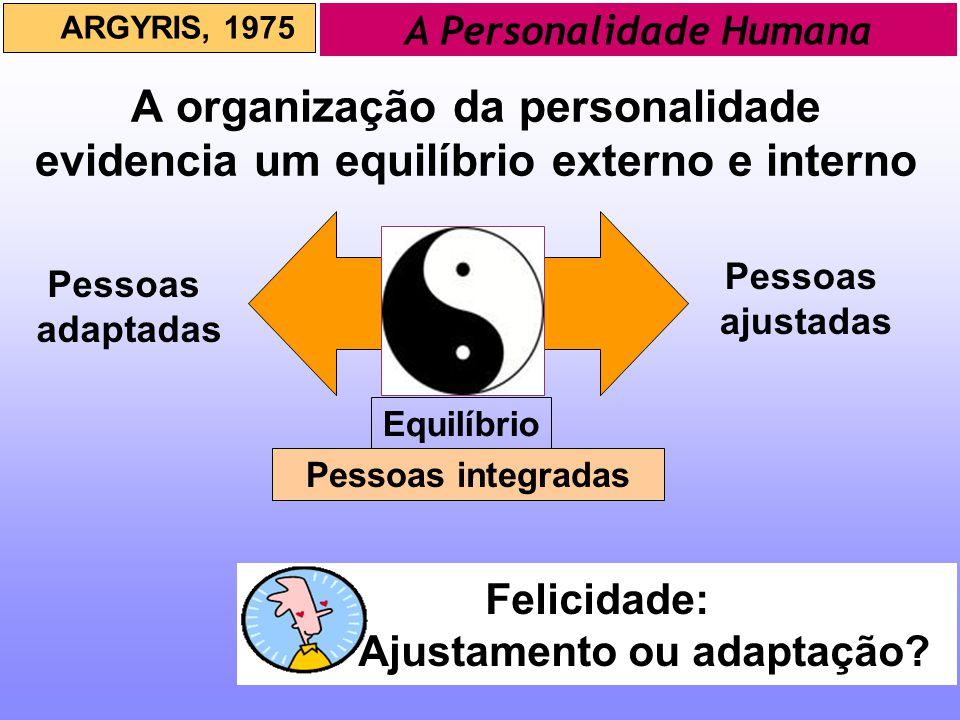 A organização da personalidade evidencia um equilíbrio externo e interno ARGYRIS, 1975 A Personalidade Humana Equilíbrio Pessoas ajustadas Felicidade: