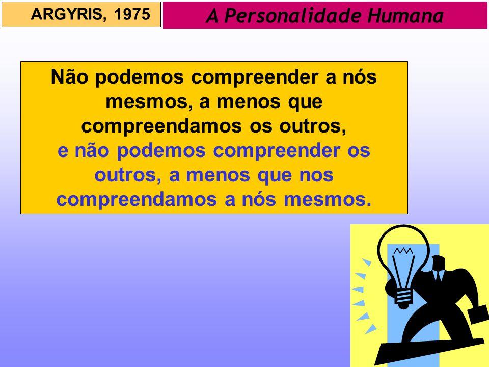 A Personalidade Humana ARGYRIS, 1975 Não podemos compreender a nós mesmos, a menos que compreendamos os outros, e não podemos compreender os outros, a