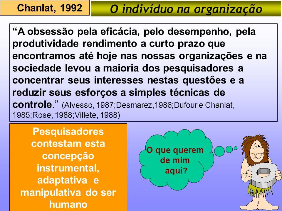 O indivíduo na organização Chanlat, 1992 A obsessão pela eficácia, pelo desempenho, pela produtividade rendimento a curto prazo que encontramos até ho