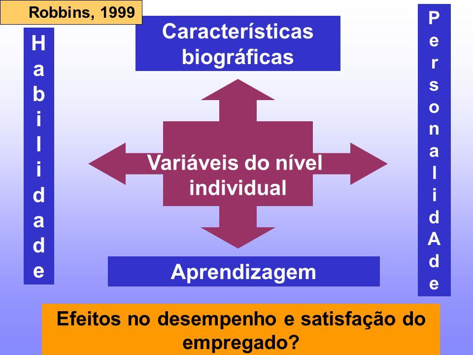 VARIÁVEIS DO NÍVEL INDIVIDUAL IdadeSexoEstado civil Tempo de serviço CARACTERÍSTICAS BIOGRÁFICAS HABILIDADES Intelectuais Físicas Robbins, 1999