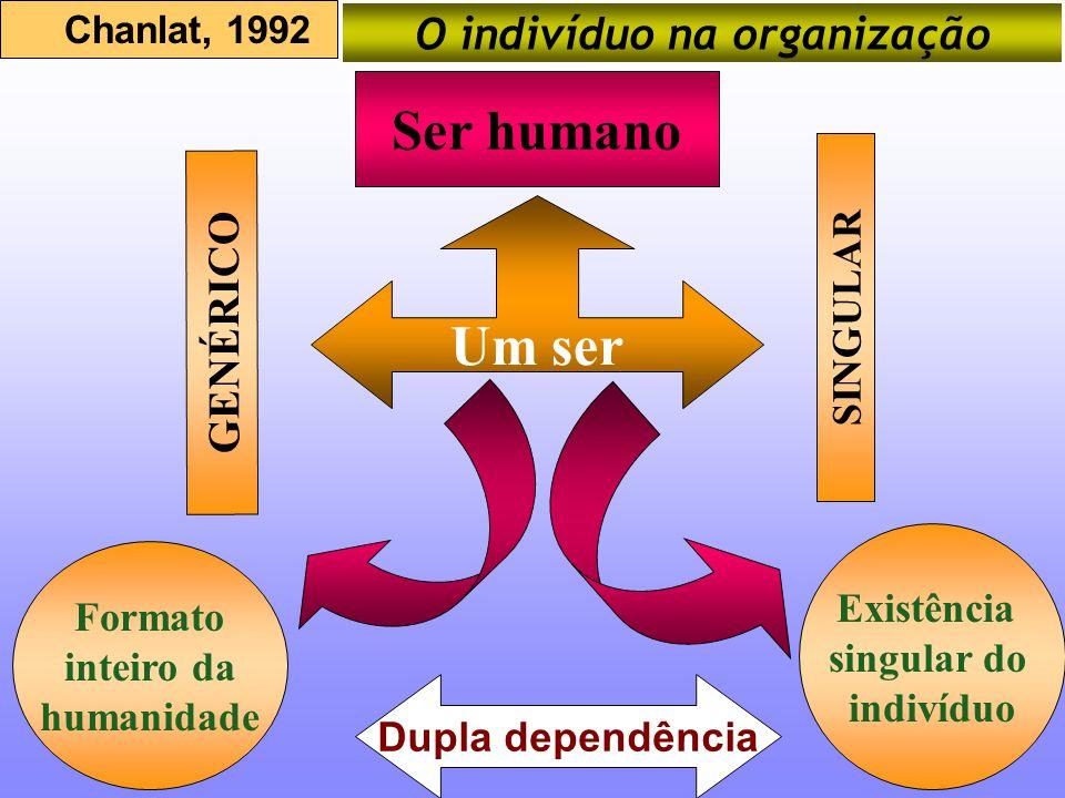 Um ser Ser humano GENÉRICO SINGULAR Formato inteiro da humanidade Existência singular do indivíduo Chanlat, 1992 O indivíduo na organização Dupla depe