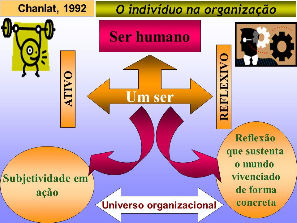 Um ser Ser humano REFLEXIVO Subjetividade em ação Reflexão que sustenta o mundo vivenciado de forma concreta Chanlat, 1992 O indivíduo na organização