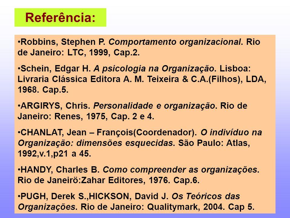 Referência: Robbins, Stephen P. Comportamento organizacional. Rio de Janeiro: LTC, 1999, Cap.2. Schein, Edgar H. A psicologia na Organização. Lisboa:
